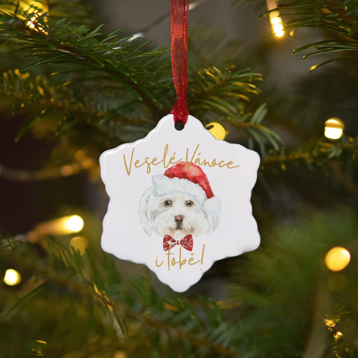 HOUSEDECOR Keramická ozdoba - Maltézský psík