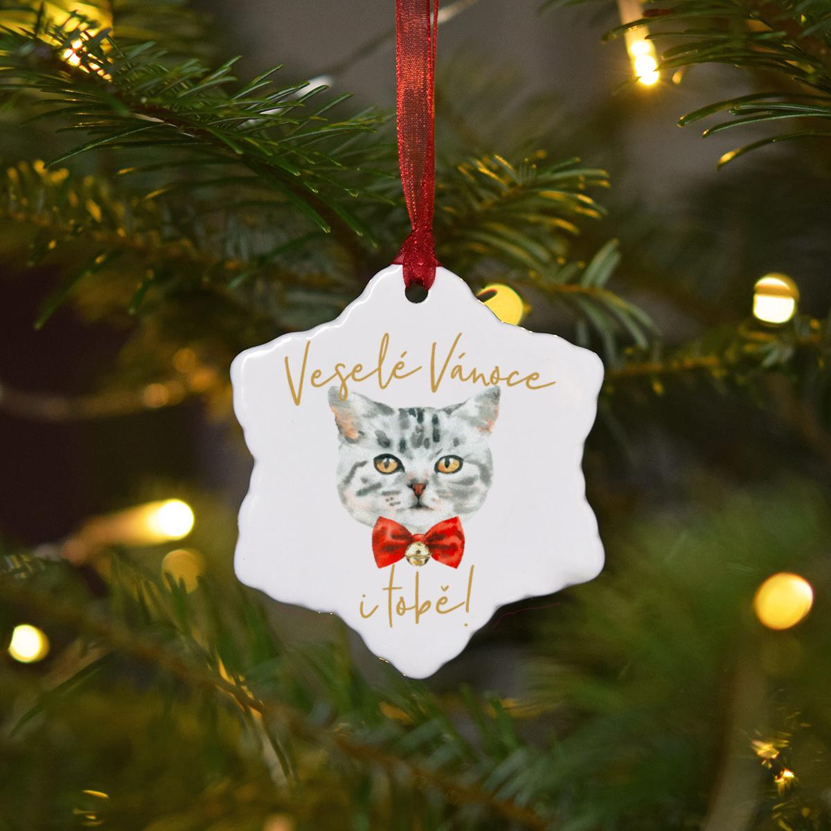 HOUSEDECOR Keramická ozdoba - Kočička šedá