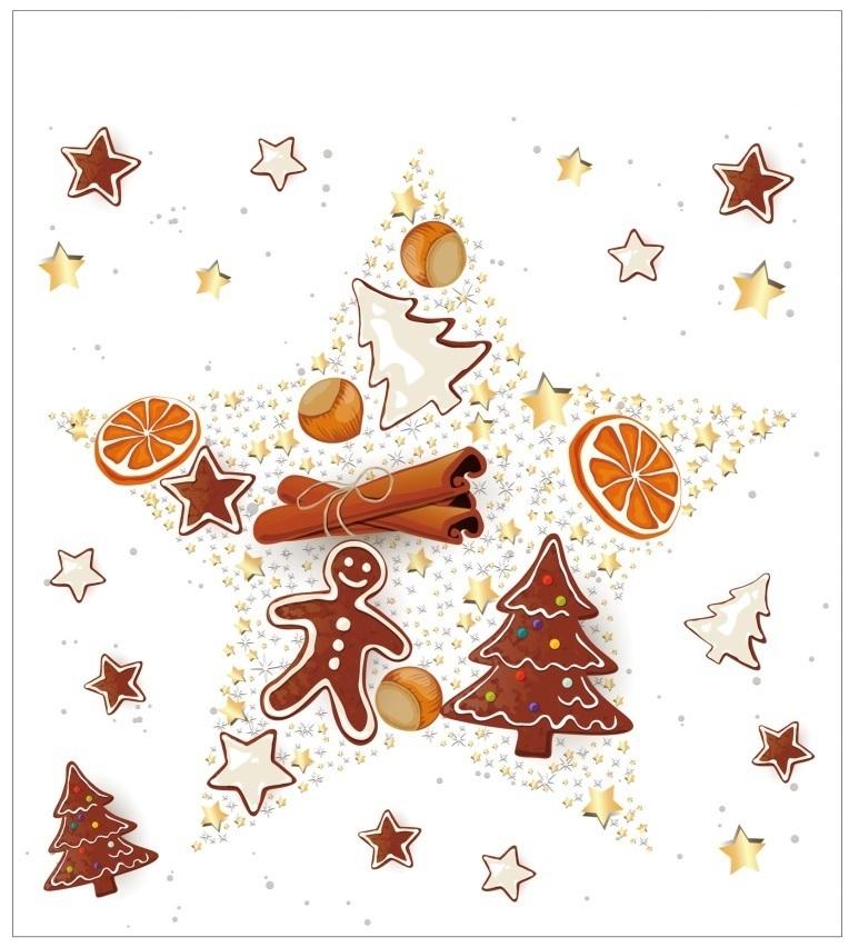 Vánoční samolepka na sklo - Perníček - hvězda