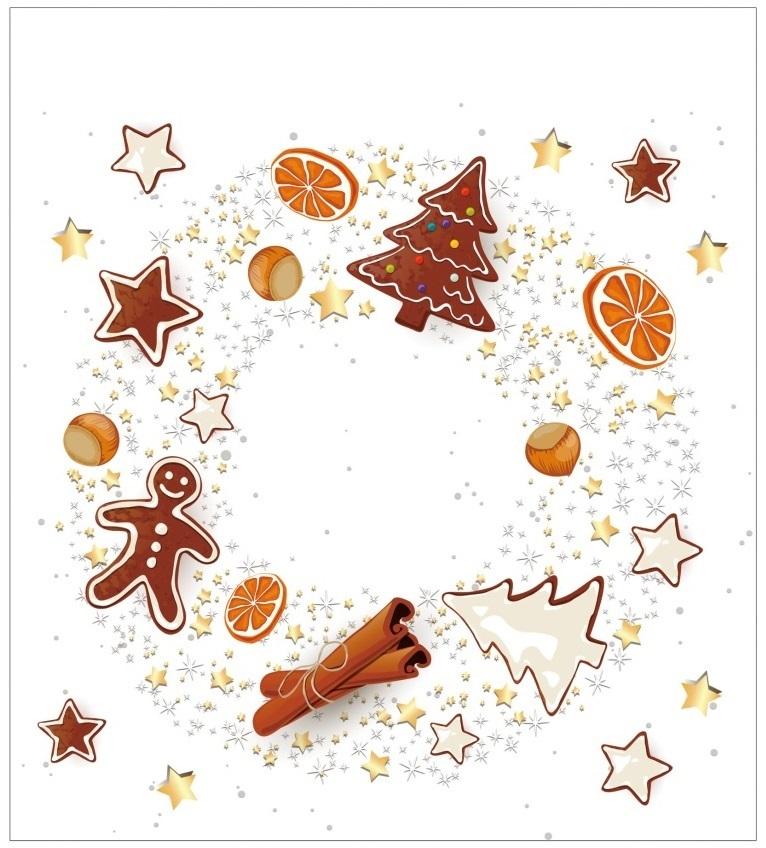 Vánoční samolepka na sklo - Perníček - věnec