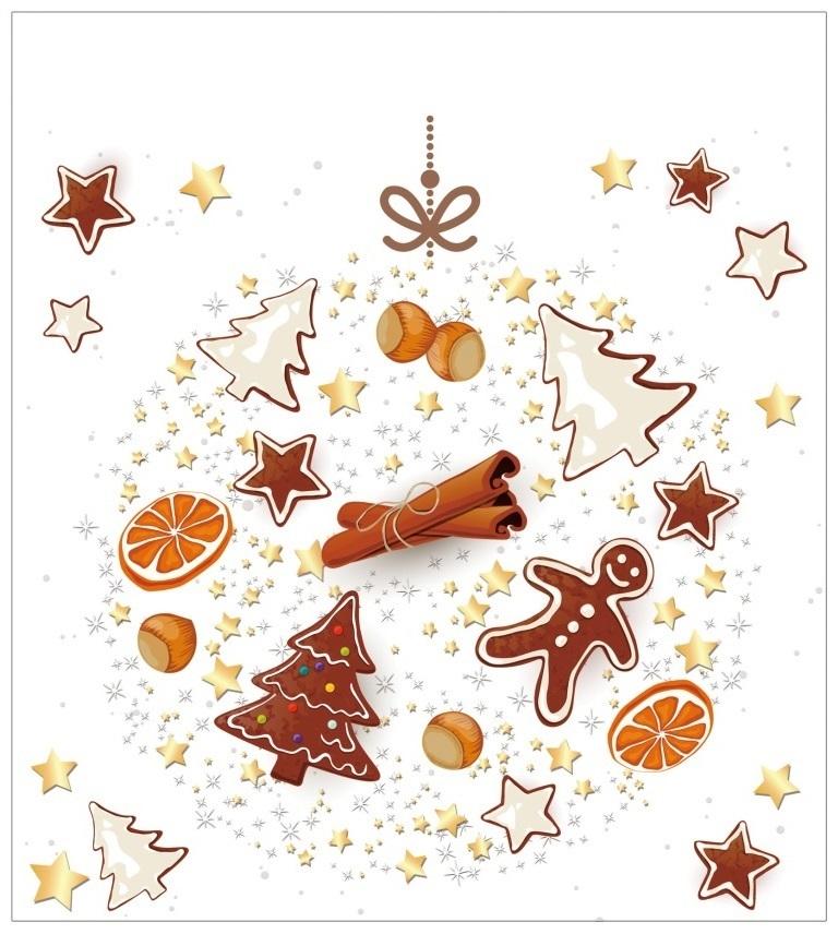 Vánoční samolepka na sklo - Perníček - baňka