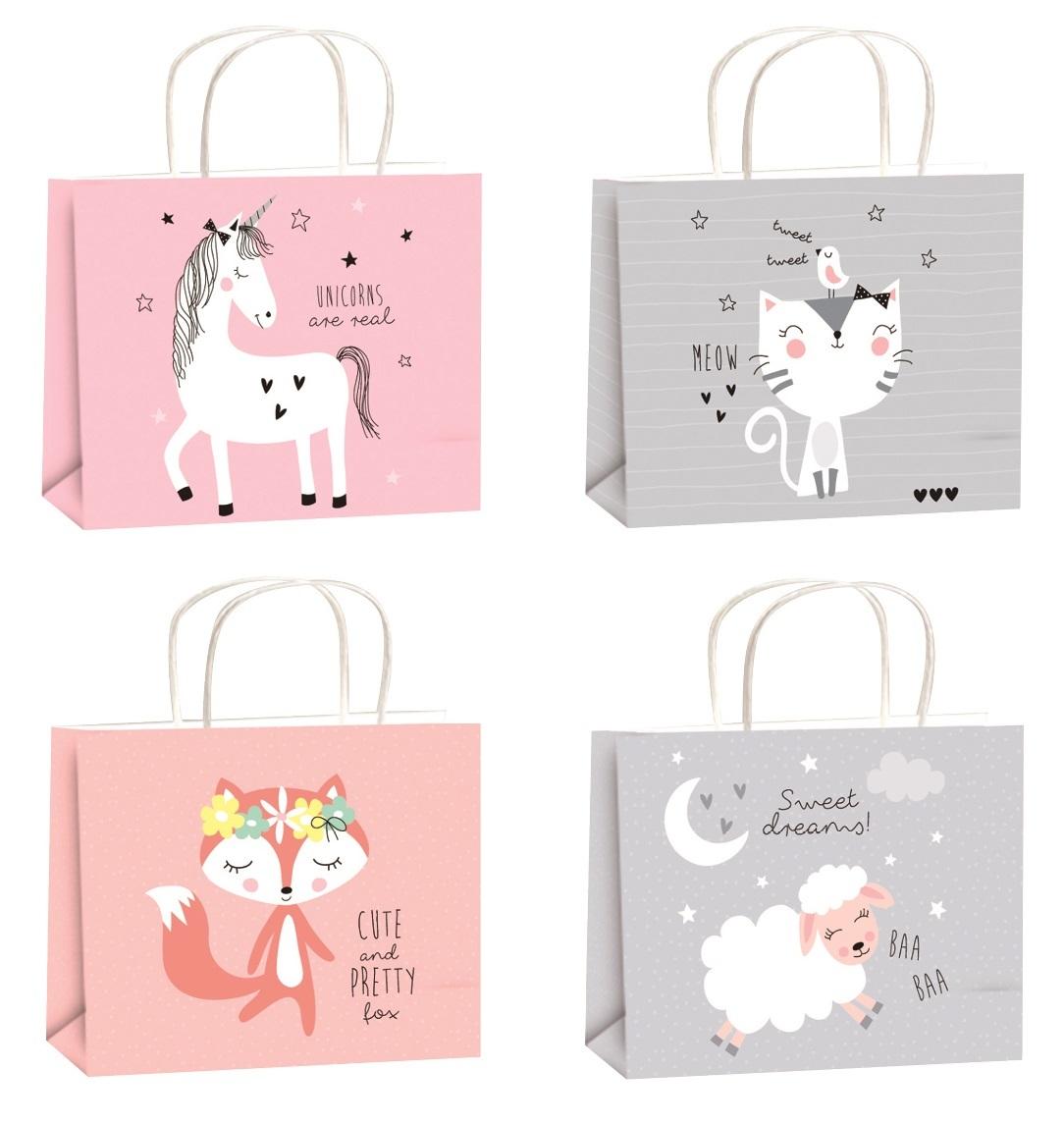 Dárková taška pro děti - 4 motivy bílá