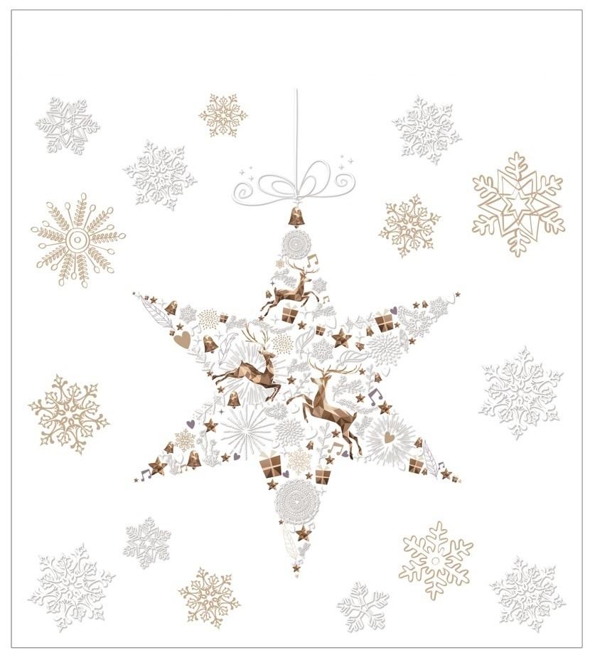 Vánoční samolepka na sklo - Hvězda a vločky