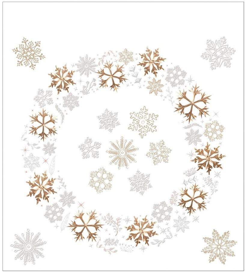 Vánoční samolepka na sklo - Věnec a vločky
