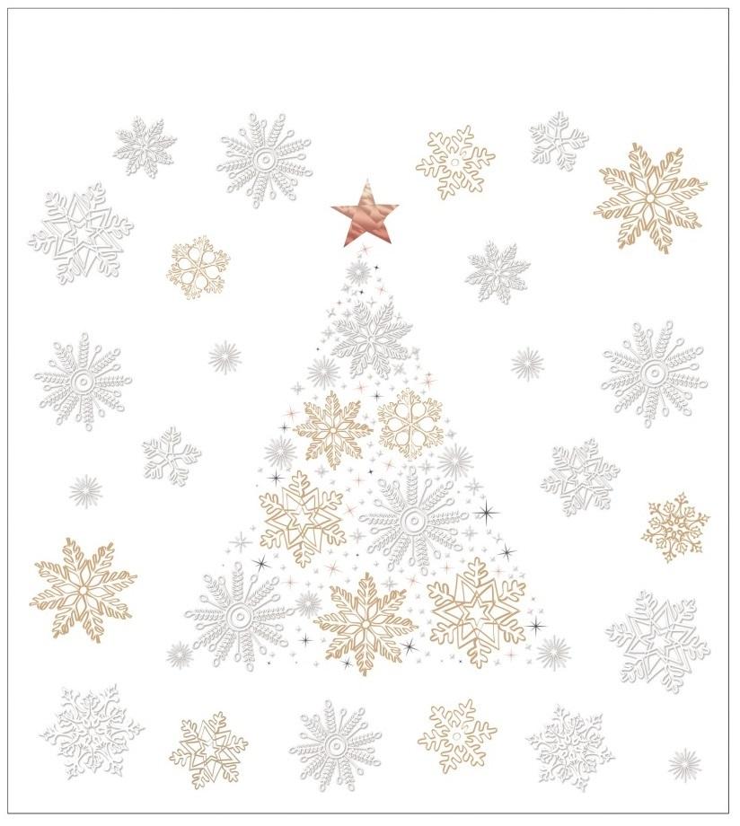 Vánoční samolepka na sklo - Stromeček a vločky