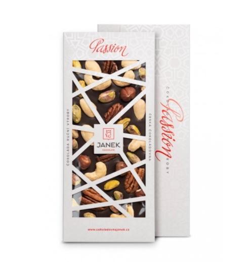 Hořká čokoláda Passion s ořechy
