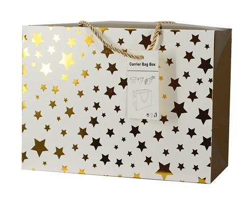 Dárková taška - zlaté hvězdičky - 3 velikosti  18x12x9 cm