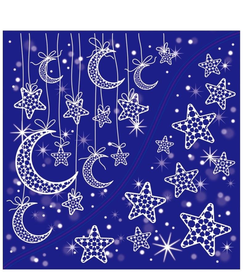 Okenní folie/ rohová - měsíček a hvězdičky