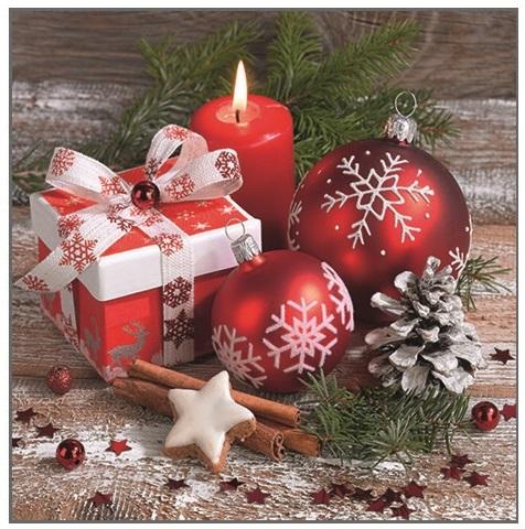 Vánoční ubrousky - Baňky a dárek