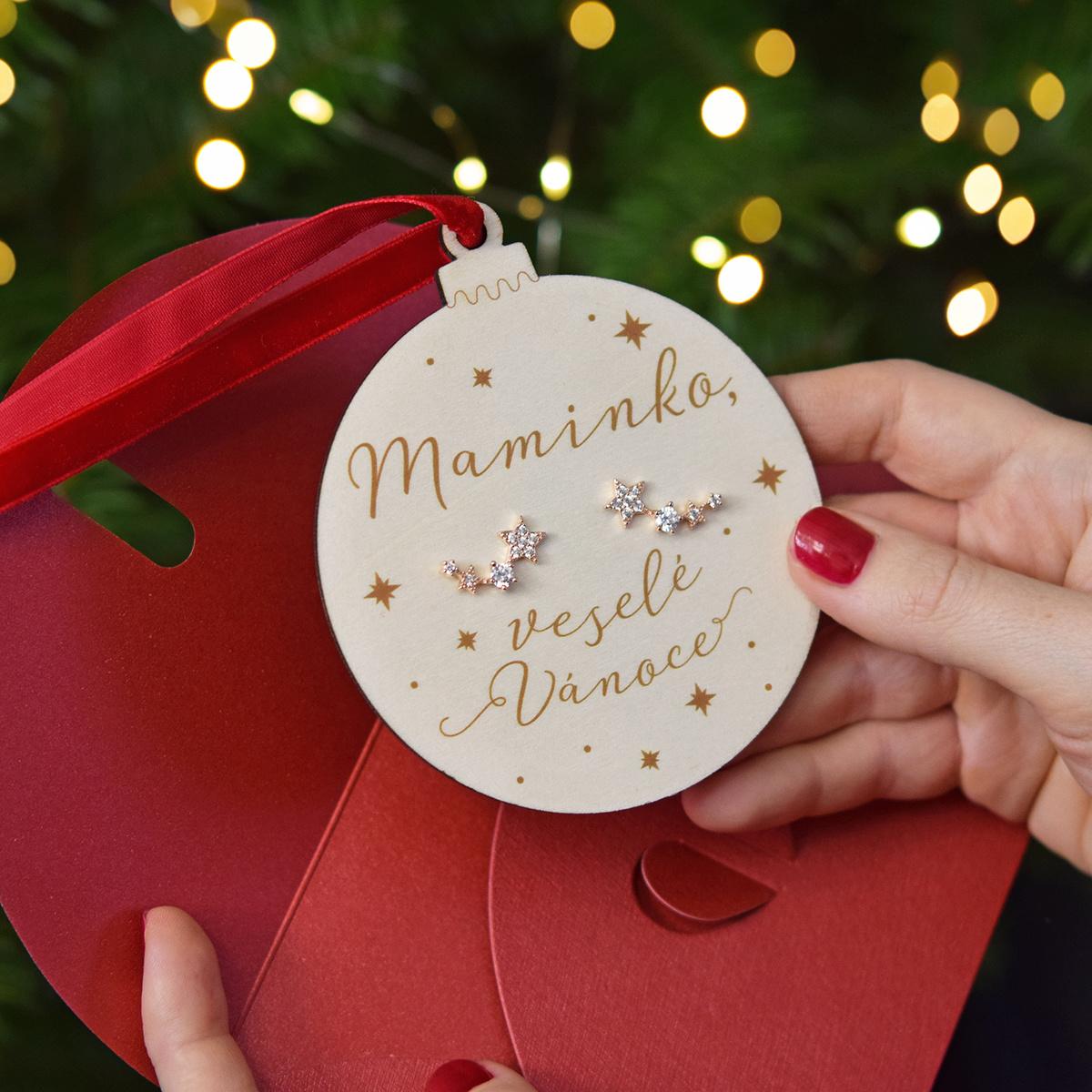 HOUSEDECOR Baňka s náušnicemi - Maminko, veselé Vánoce růžové zlato barva