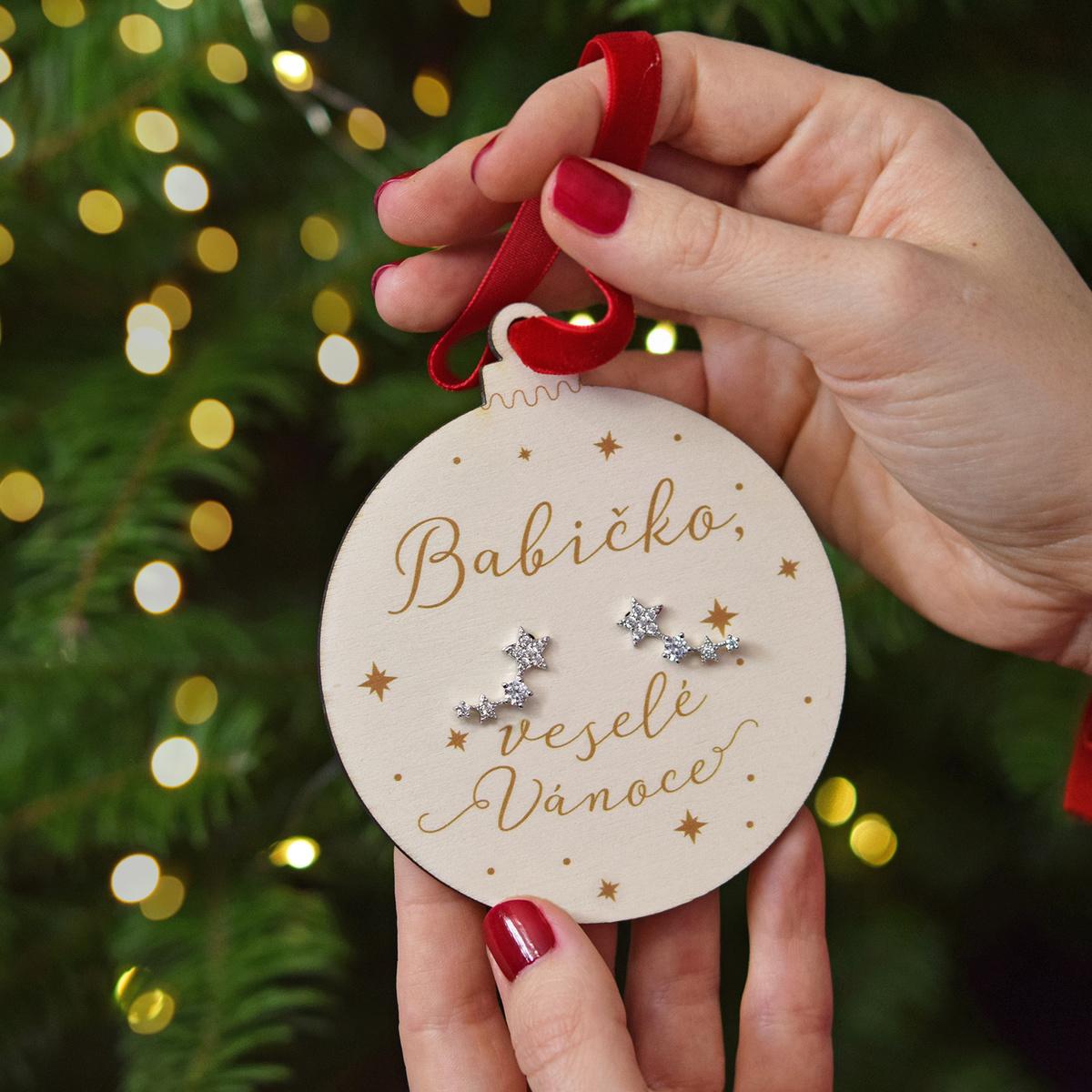 HOUSEDECOR Baňka s náušnicemi - Babičko, veselé Vánoce růžové zlato barva