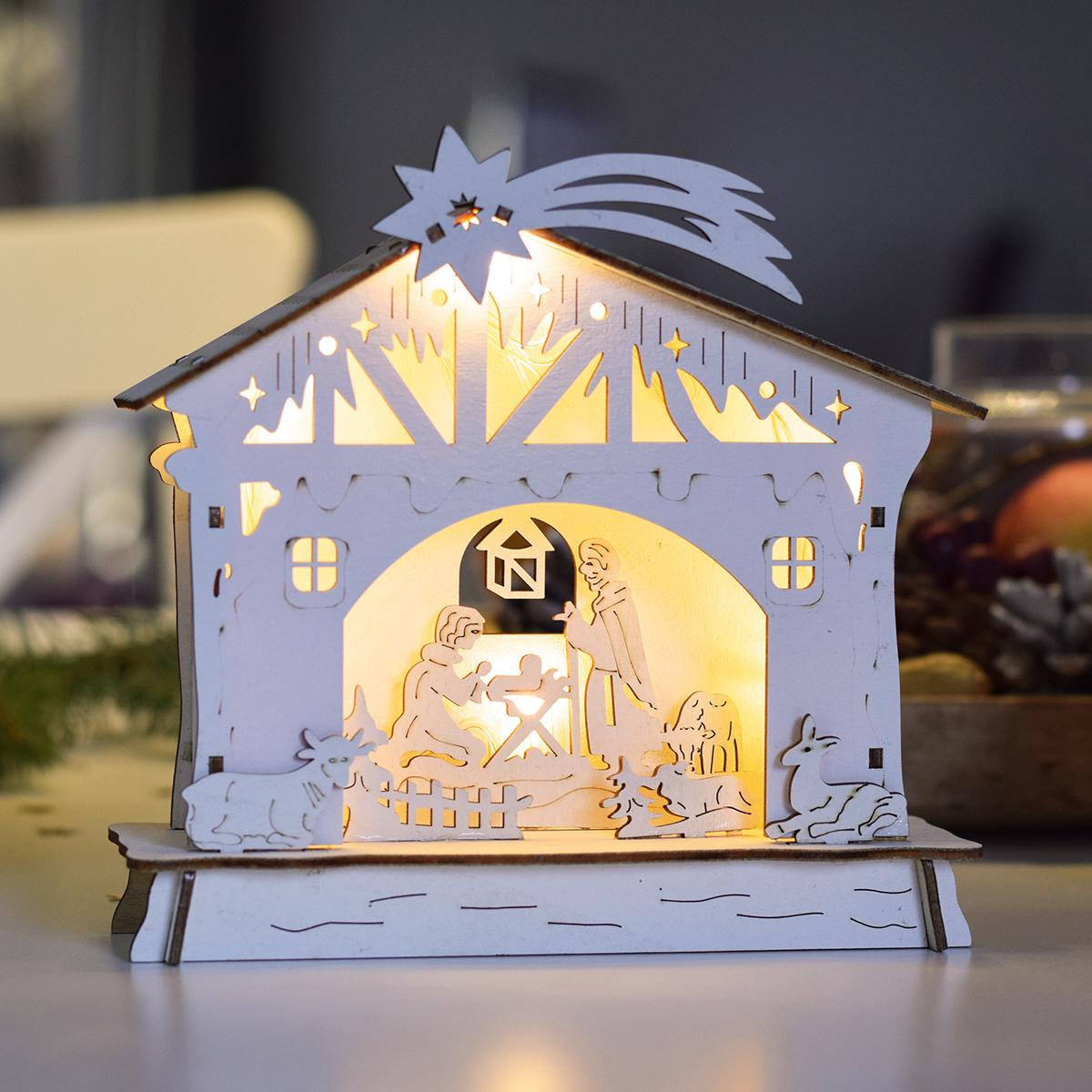 Dřevěný domeček - Vánoční dekorace - 2 designy sáně motiv