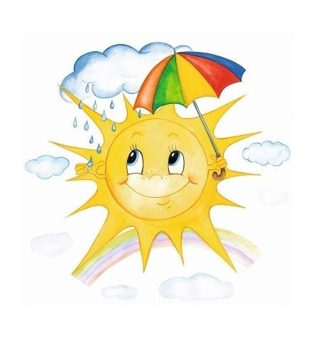 Okenní folie - Malované sluníčko s deštníkem