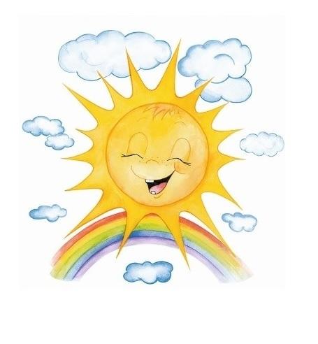 Okenní folie - Malované sluníčko s duhou