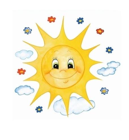 Okenní folie - Malované sluníčko s květinkami