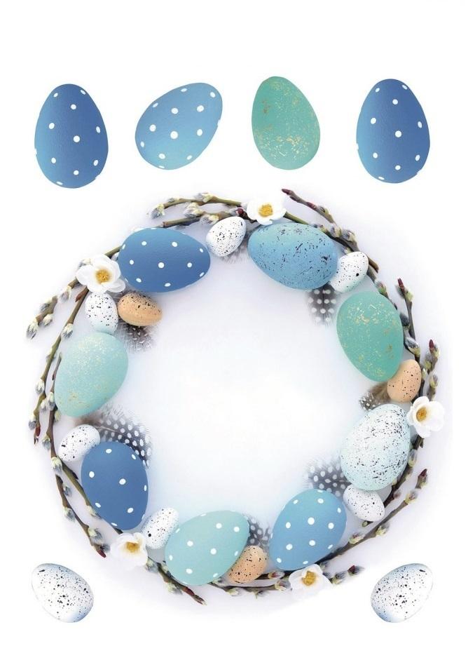 Samolepka na sklo - modrý věnec s vajíčky