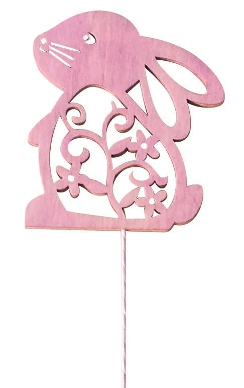 Dřevěný zajíc 8 cm růžový + drátek