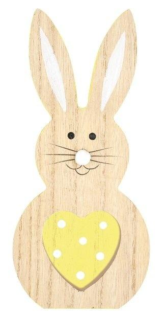 Zajíc dřevěný na postavení se žlutým srdcem 16 cm