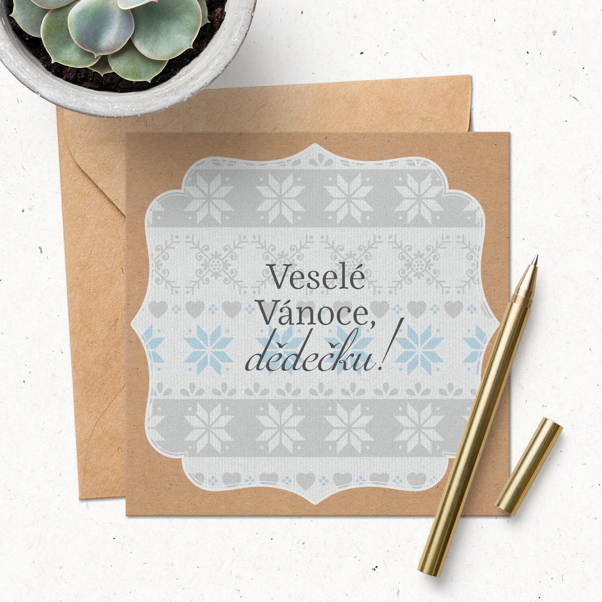 HOUSEDECOR Přání s obálkou - Veselé Vánoce, dědečku!