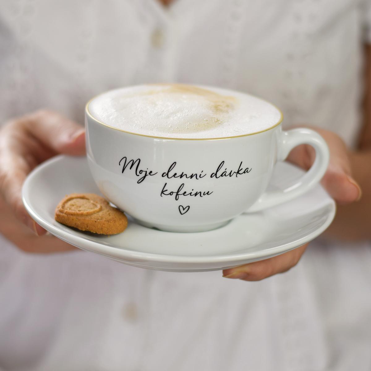 HOUSEDECOR Šálek s podšálkem - Moje denní dávka kofeinu