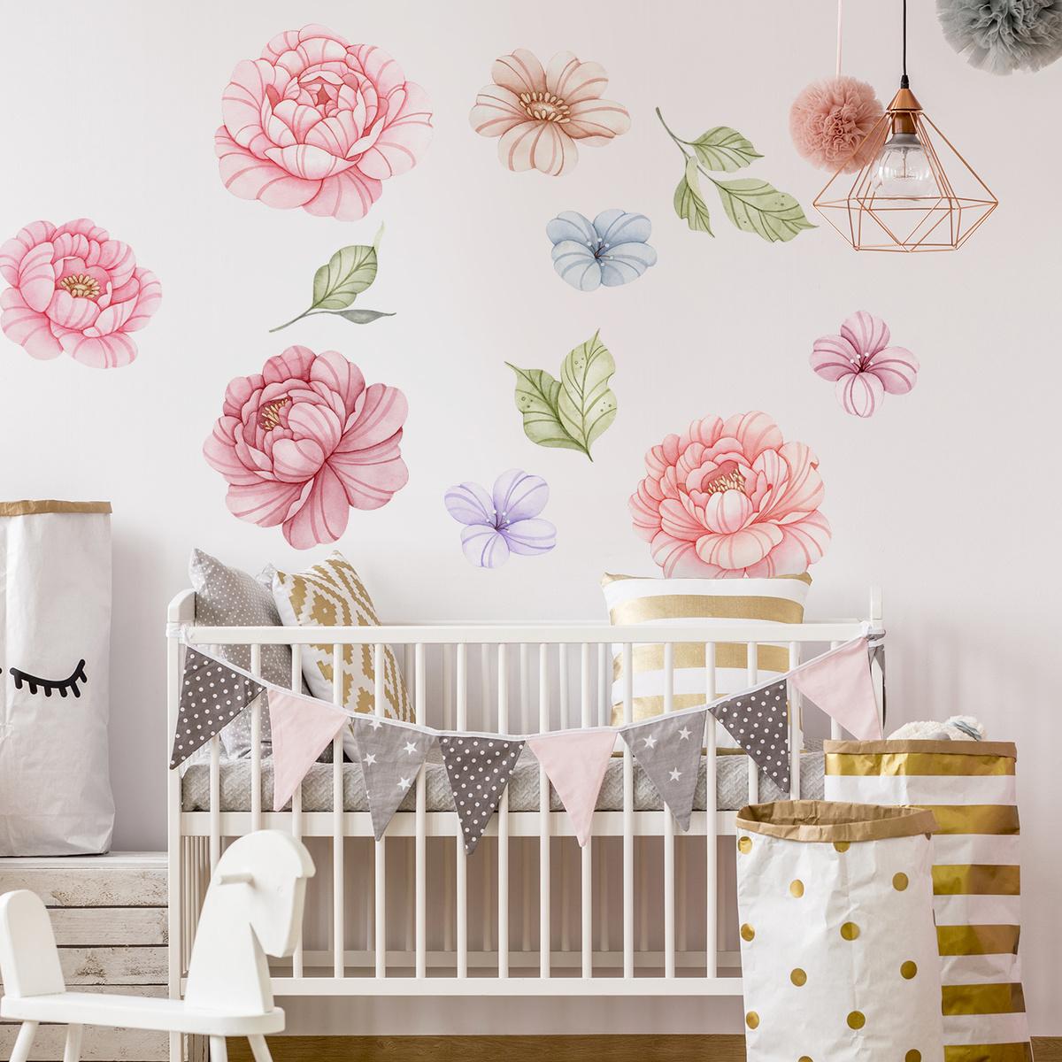 Samolepka na zeď - Malované květy XL