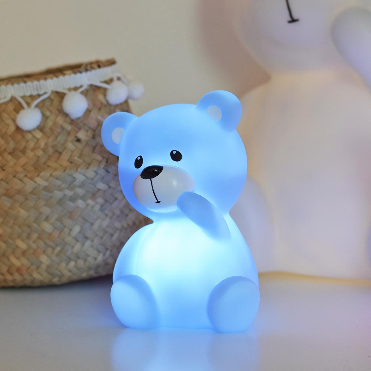 Dětská noční LED lampička - medvídek - 3 varianty růžová barva