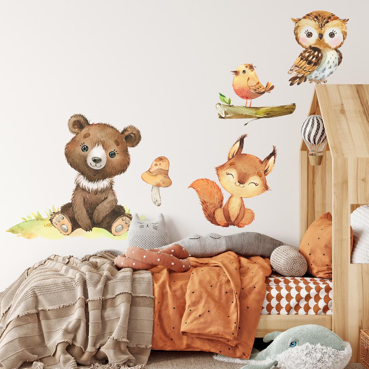 Samolepka na zeď - Medvěd, veverka, ptáček a sova XL