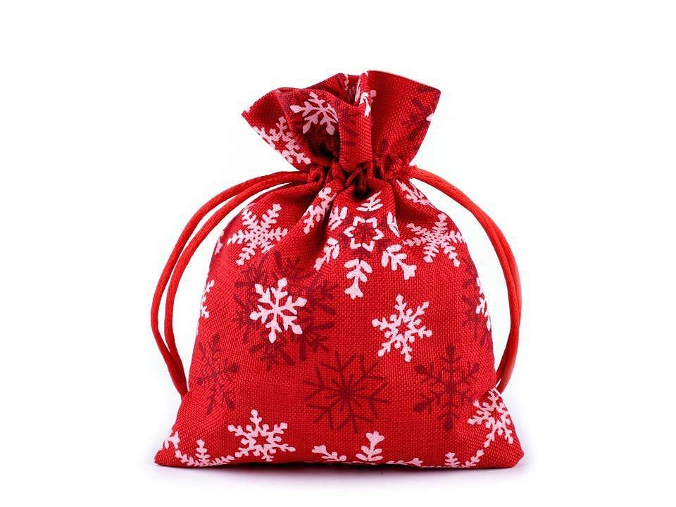 Dárkový vánoční pytlík - červený s vločkou
