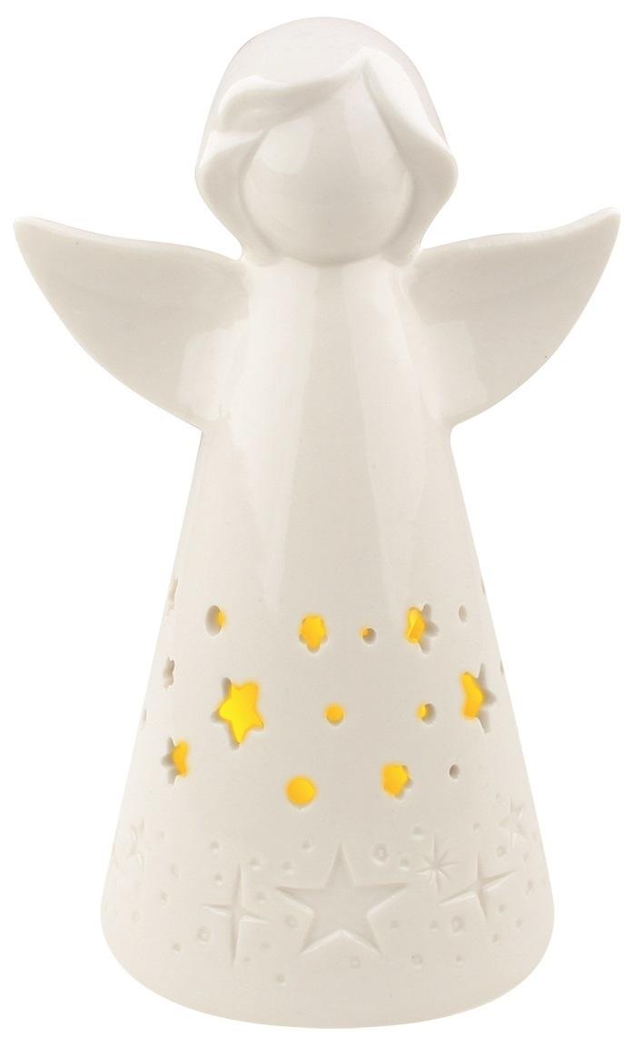 Anděl porcelánový s LED osvětlením,bílý s hvězdičkami
