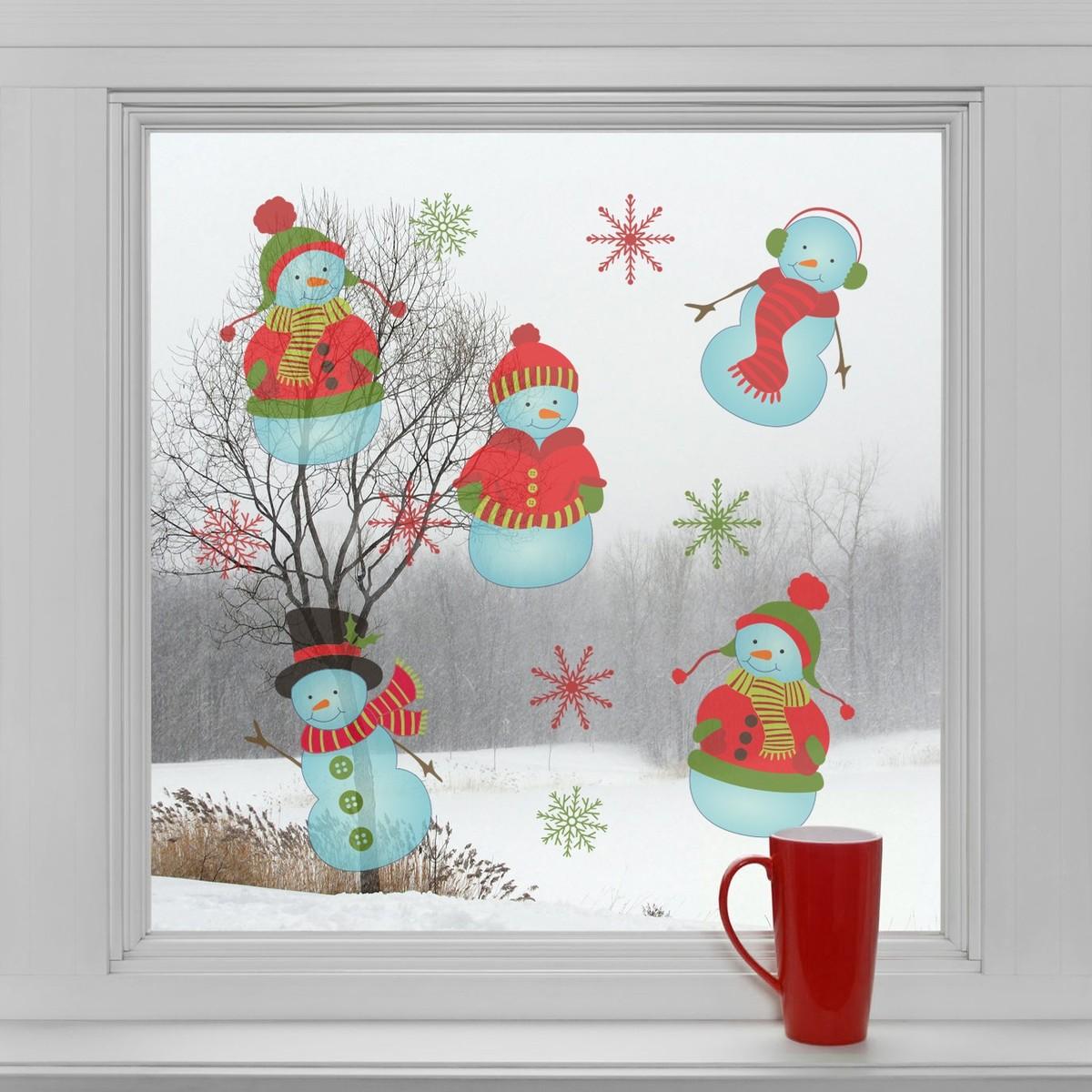 HOUSEDECOR Samolepka na sklo - Sněhuláci