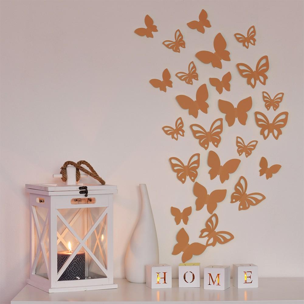 HOUSEDECOR 3D motýl - bronzová perleť 1 kompletní set (8 ks motýlů) Set
