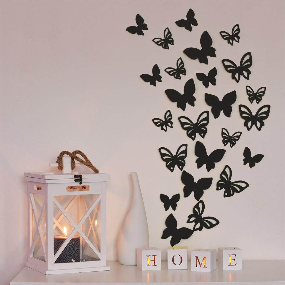 HOUSEDECOR 3D motýl - černá perleť 1 kompletní set (8 ks motýlů) Set
