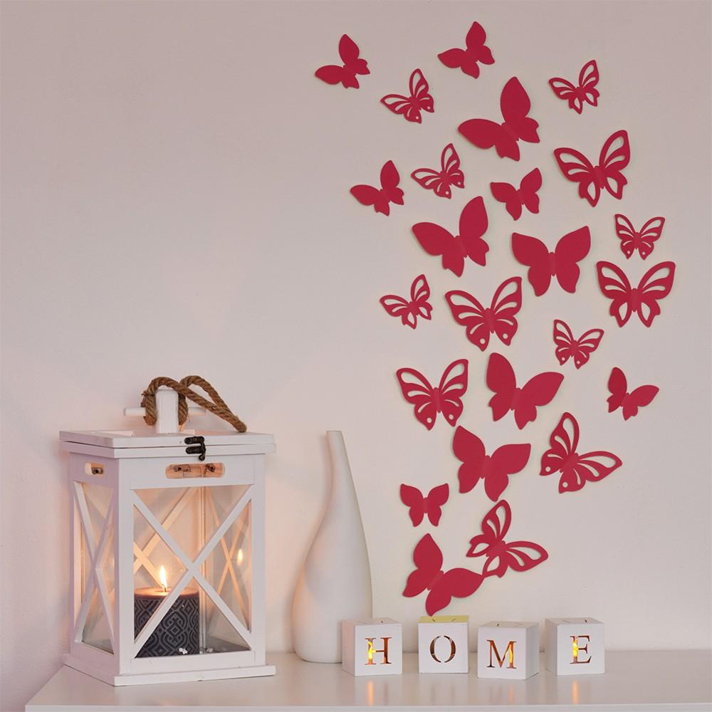 HOUSEDECOR 3D motýl - červený 1 kompletní set (8 ks motýlů) Set