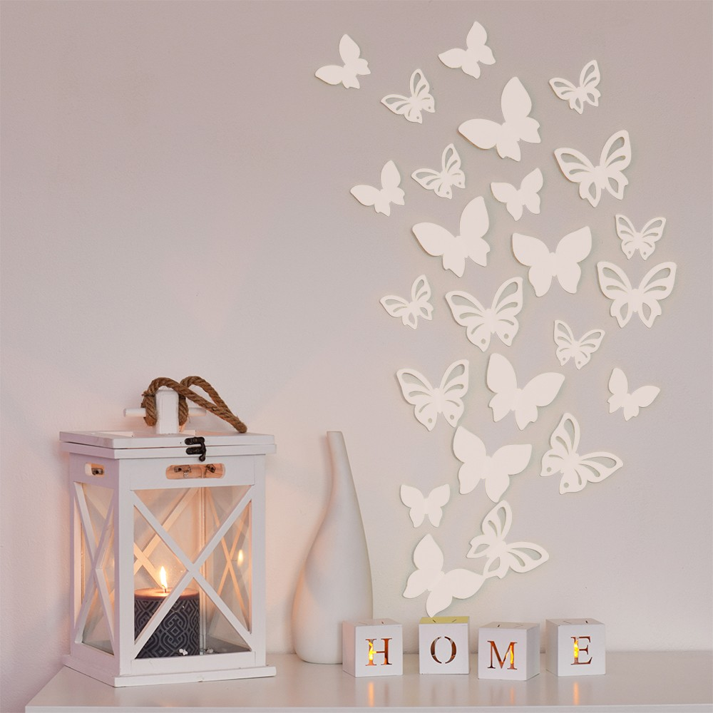 HOUSEDECOR 3D motýl - bílá perleť 1 kompletní set (8 ks motýlů) Set