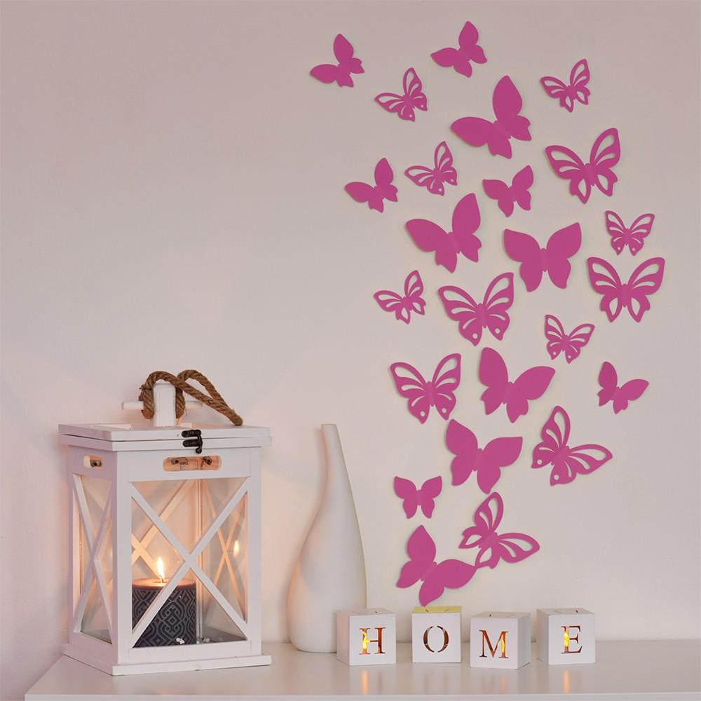 HOUSEDECOR 3D motýl - růžový 1 kompletní set (8 ks motýlů) Set