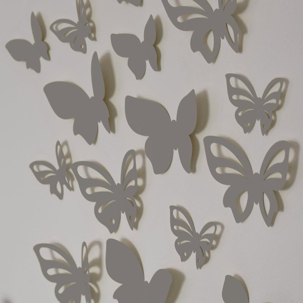 HOUSEDECOR 3D motýl - stříbrný 1 kompletní set (8 ks motýlů) Set