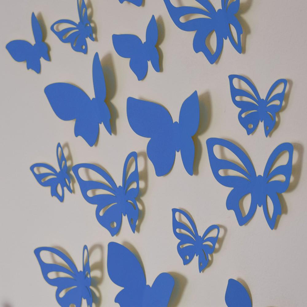 HOUSEDECOR 3D motýl - modrý 1 kompletní set (8 ks motýlů) Set